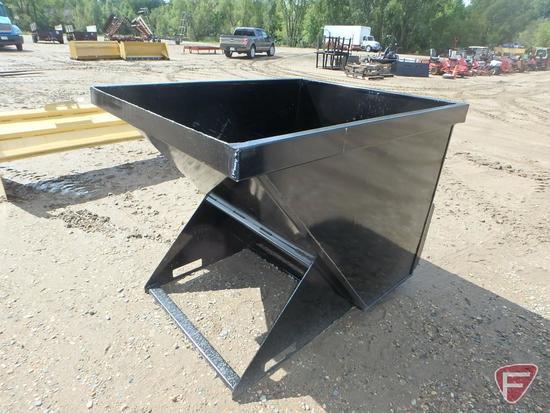 New 1.75 yard heavy duty trash hopper, universal skid steer mount
