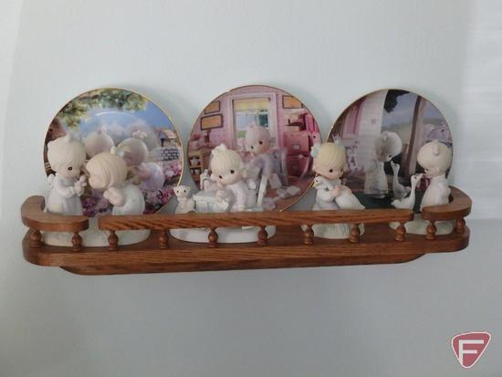 Precious Moments: plates, mugs, frames, figurines, (6) wood wall shelves, and