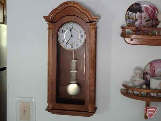"Verona Quartz wooden wall mantle clock, battery operated 12""w x 4-1/2""d x 27""h"