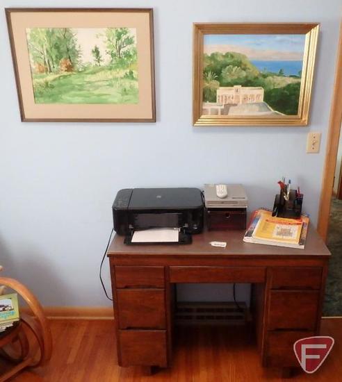 Canon printer, Magnavox DVD player, (2) framed paintings by Gander,