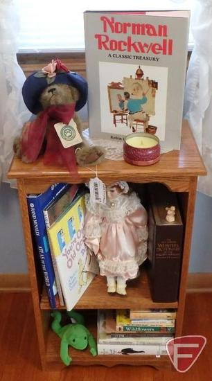 """Wood bookshelf with books and toys, shelf is 19""""w x 12""""d x 31""""h"""