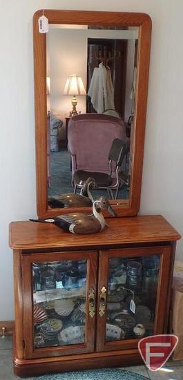 """Hallway lighted curio cabinet, glass shelves with mirror, 33""""w x 12""""d x 70""""h with mirror"""