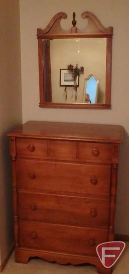 Wood 4 drawer dresser with matching hanging mirror. Dresser 45inHx34inWx20inD, mirror 31inH. 2 pcs
