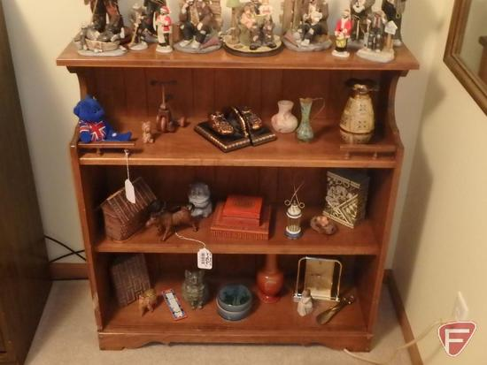 Wood bookcase, 38inHx36inWx12inD. Bookcase only, contents are NOT included