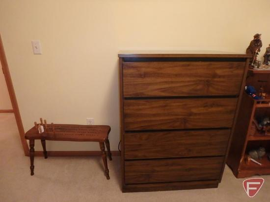 Pressed-wood 4 drawer dresser and wood standing cribbage board. 2 pces