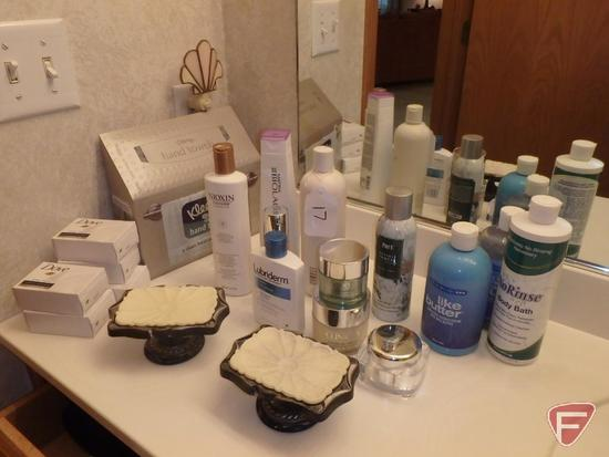 Personal care items, shampoos, lotions, soaps, Clinique, mirrors, scissors, cosmetic bags,
