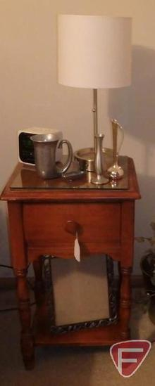 Wood 1 drawer nightstand (Matches Lot 1), silver colored lamp, waste basket and decorative items,