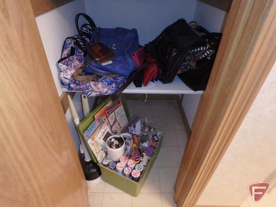 Ladies purses and bags, some leather, and plastic sewing basket with sewing items/notions.