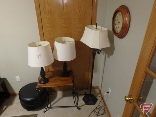 Floor lamp, (2) matching table lamps, wood/metal table - top is cracked, rolling ottoman, wall clock