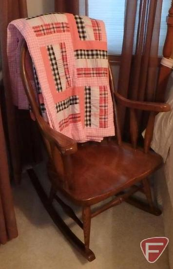 Wood rocking chair and homemade quilt. 2 pcs