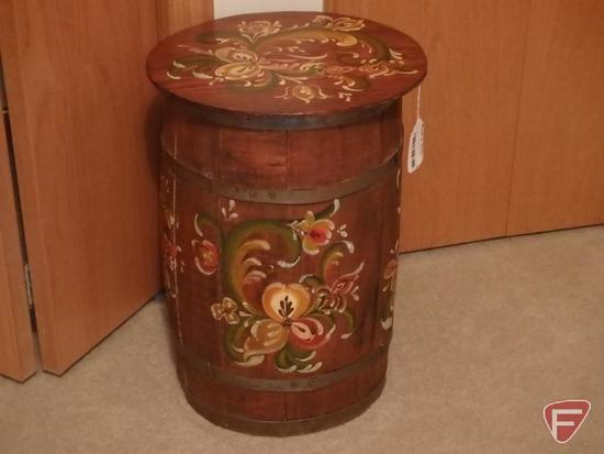Painted wood barrel with lid and metal shaft cane. 2 pcs