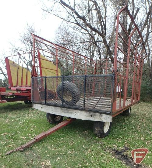 9' x 16' Hay rack on Kewanee running gear with extendable pole