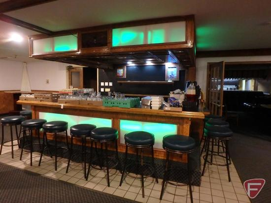 3-Sided bar with credenza, fold up walk-through counter with LED mood lighting