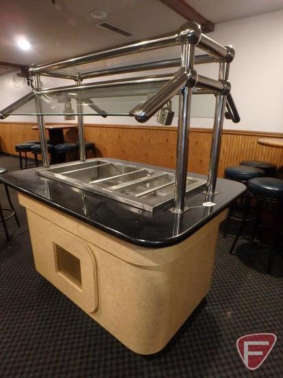 Mobile refrigerated salad bar with sneeze guard, 110v, 8.1amp, R22 refrigerant