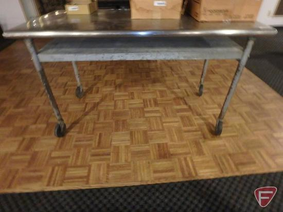 """Stainless steel topped table on casters with under shelf, 60""""w x 30""""d x 34""""h"""