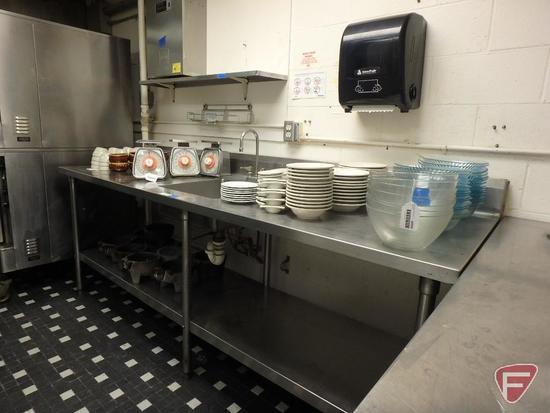 """Stainless steel sink with undershelf, 96""""w x 30""""d x 36""""h with 6"""" backsplash, 18"""" x 18"""" x 6""""d basin"""