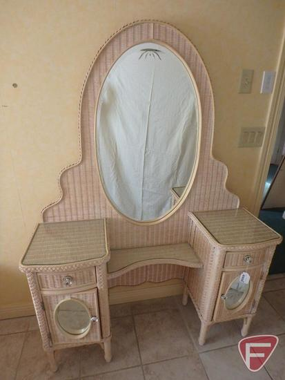 "Henry Link Lexington wicker vanity with glass mirrors and shelves, 48""w x 15""d x 67""h."