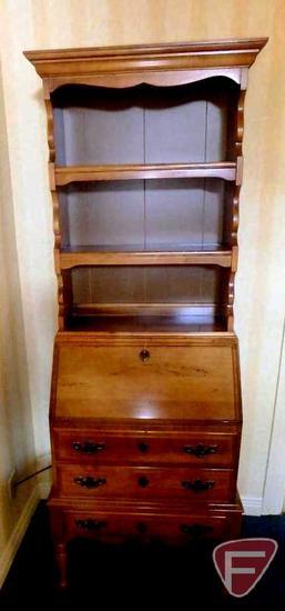 """2 pc wood drop-down desk with pigeon-hole cubbies, 26""""w x 15""""d x 71""""h"""