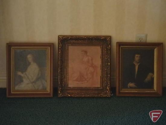 Framed print of women standing and seated by Watteau, and framed pictures of lady and gentleman.