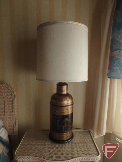 "(2) Oriental themed table lamps, 38""h, both"