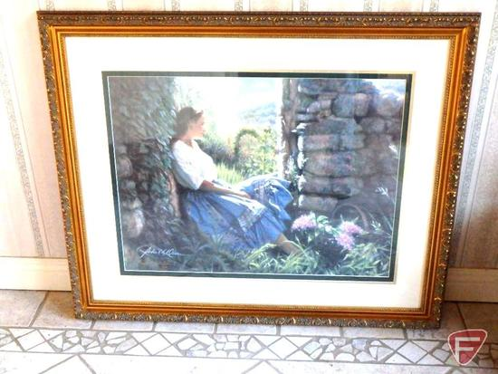 Framed and matted print, The Garden Gate, by Robert Olson, Scenes from the South of France 1054/1875