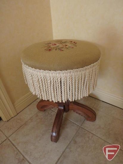 Needlepoint piano stool, wood base
