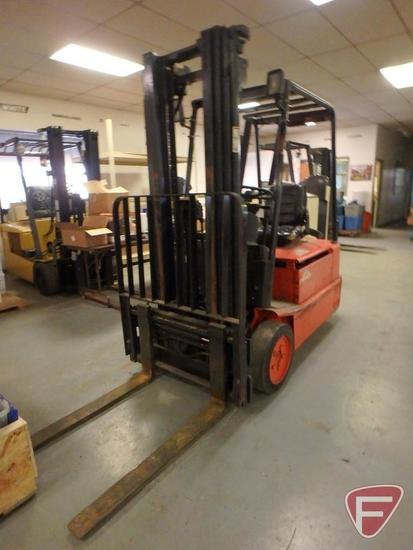Baker Linde 48v electric forklift, hrs showing, 83/188 triple stage mast, full free lift, side shift