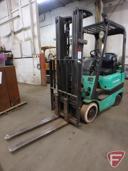 Mitsubishi FGC15K LP gas forklift, 7565hrs showing, 83/188 triple stage mast, full free lift