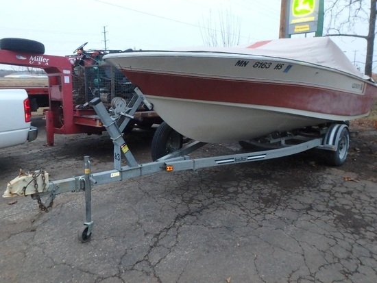 1984 Larson 19' Delta Conic fiberglass boat on Load-Rite boat trailer