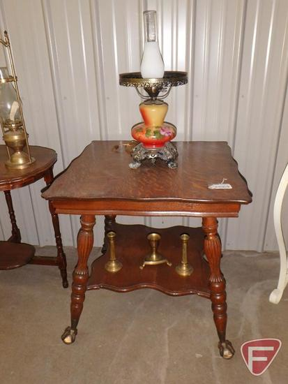 "Wood 28"" square occasional table with claw and ball feet, table top lamp and metal candle holders"