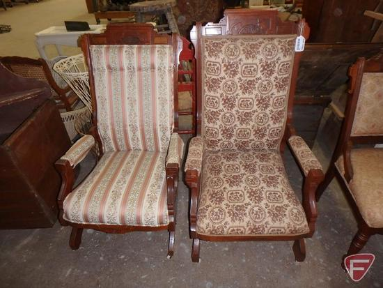 Vintage rocking chairs on wheels, some wear