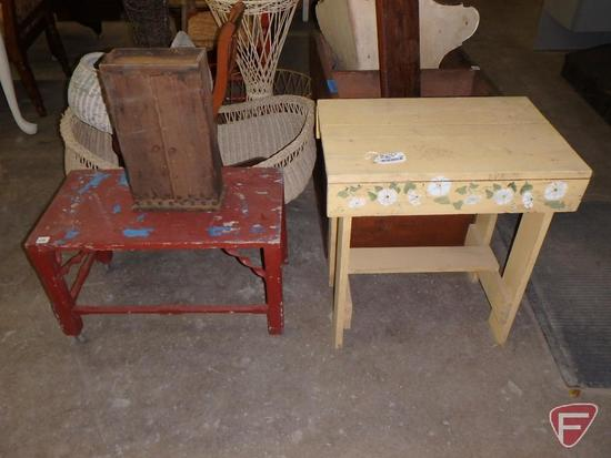 Wood and wicker items: painted table, wall shelf, corner shelf, bassinet