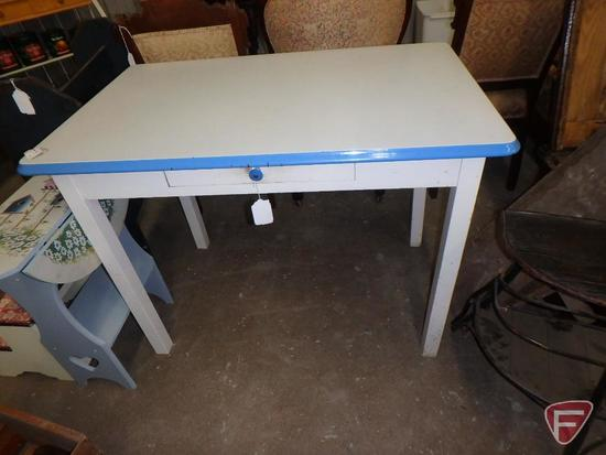 "Wood table with enamel top, one drawer, approx. 40""l x 25""w x 30""h"
