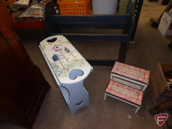 Painted drop-leaf side table, painted quilt rack, and (2) step stools
