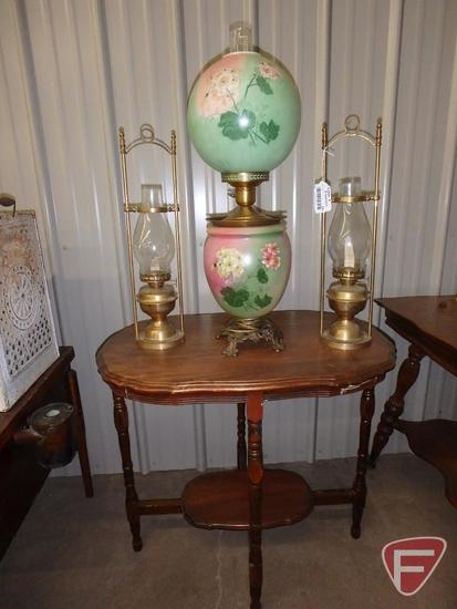 "Wood occasional table, approx. 30""l x 20""w x 28""h, with vintage table lamp"
