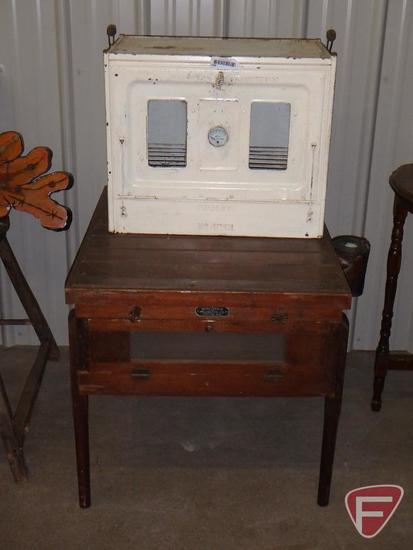 "Vintage Ivanhoe stove top oven, Wisconsin Incubator Co. table, approx. 25""l x 29""w x 24""h"