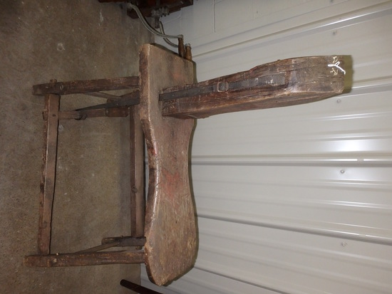 Vintage wood harness saddle repair bench, show halter, headstall, wire roller, horse evener