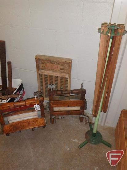 Universal wringer, Lovell wringer, National washboard, and folding dry rack