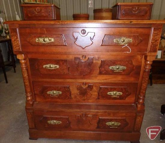 "Vintage 4-drawer dresser with (2) handkerchief drawers (not attached), approx. 40""l x 19""w x 40""h"