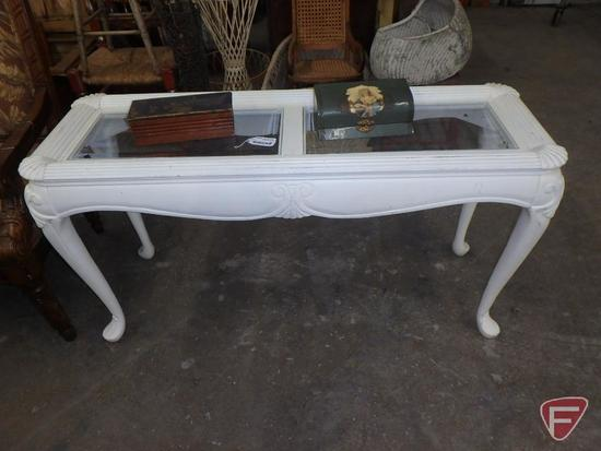 "Wood sofa table with glass top inserts, approx. 52""l x 18""w x 28""h, and (2) decorative boxes"