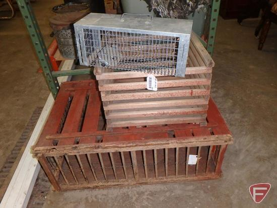 Wood chicken crate, wood crate, and small metal live trap