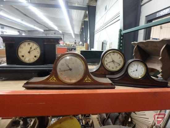 (4) Mantel clocks: Ingraham, Westminster Chime, New Haven, and one unknown; and wood wall shelf