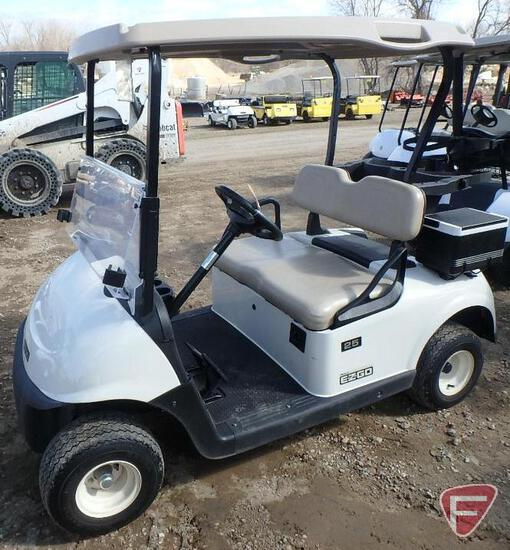 2016 EZ-GO RXV electric golf car with canopy, windshield, and cooler; white, sn 5398095