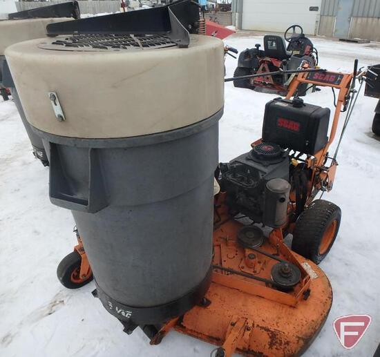 """Scag 52"""" hydro walk behind mower with vacuum collection system (missing hose), sn 9060491"""