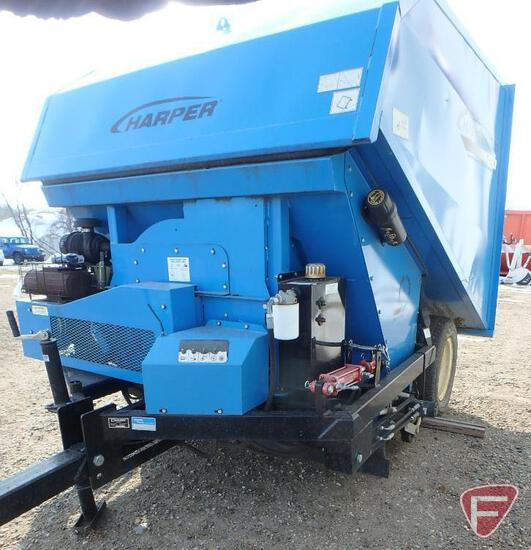 Harper TV60R Turbo Vac pull type turf sweeper with 25HP Kohler Command Pro gas engine