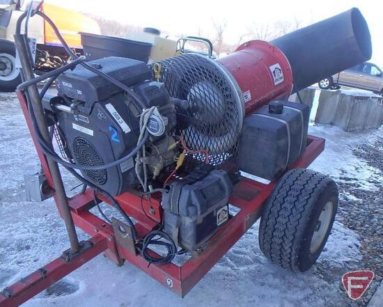 Buffalo Turbine Turbulent Air debris blower trailer, model KB, Kohler CH20S gas engine, sn 7526