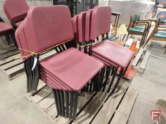 (12) stackable plastic and metal chairs