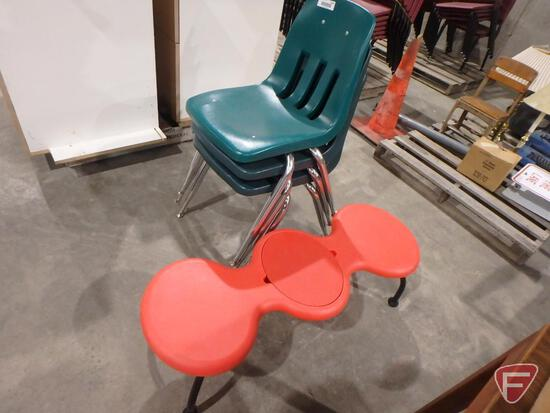 Child's red plastic toy bench and (3) stackable plastic chairs
