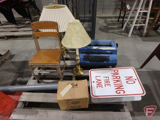 "Child's desk chair, 2-sided ""NO PARKING FIRE LANE"" sign, (2) lamps, IBM electric typewriter"