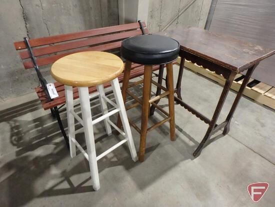 "Wood and metal park bench 48 ""width, (2) stools, wood plant stand table"